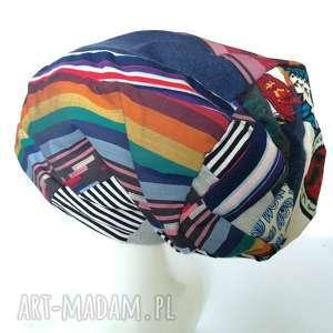 czapka boho kolorowa damska dziecięca patchworkowa - czapka, patchwork, etno, retro