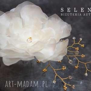 Jedwabny kwiat, ślub, jedwab, swarovski, kryształ, ozdoba