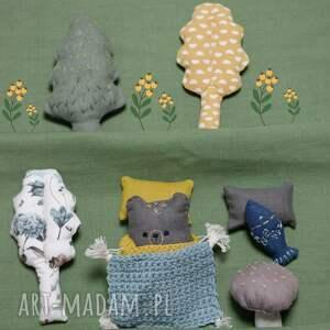 hand-made lalki zestaw leśne zwierzątka-niedźwiedź szary