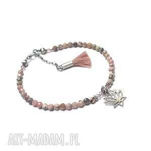 boho /antique pink/ vol 2 - bransoletka, srebro, oksydowane, opal różowy