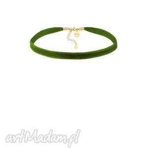 oliwkowy aksamitny choker z regulowanym zapięciem sotho, złoty