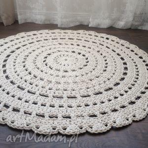Ręcznie robiony okrągły dywan ze sznurka bawełnianego - beżowy , dywan, szydełko