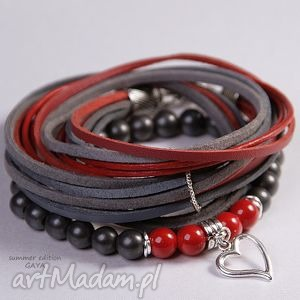 graphite red - rzemienie, posrebrzane, zawieszki, komplet, serce, prezent