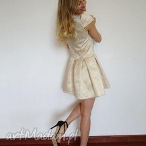 Sukienka złoty żakard sukienki dorothe wesele, lato, sukienki