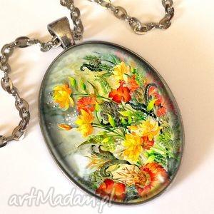 kwiatowa fantazja - owalny medalion z łańcuszkiem - kwiatowa, fantazja, owalny