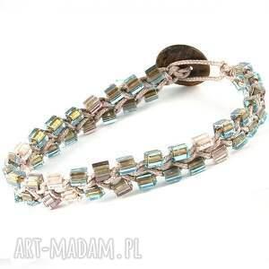 DOUBLE ARMURE Szklane kostki, masa, perłowa, szkło, sznurek, minimalizm,