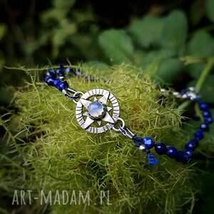 bransoletka podróżnika z lapisem lazuli, kompas, róża wiatrów, podróż