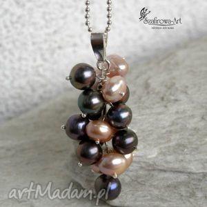 perłowe grono - naszyjnik, grono, perły, srebro, elegancki