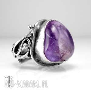 miechunka lavender srebrmy pierścionek z ametrynem regulowany, prezent