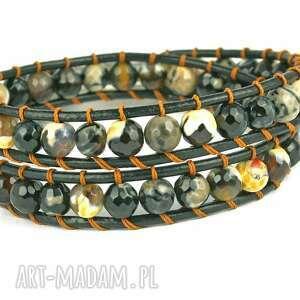 hand-made 2w1: czarny agat ognisty