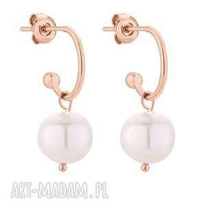 kolczyki z różowego złota z naturalnymi perłami - półkola