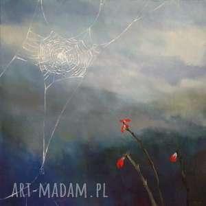 pajęczyna-obraz akrylowy formatu 40/40 cm, obraz akrylowy, kwadrat