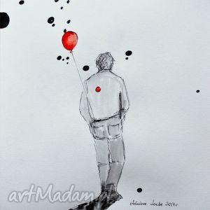Akwarela i piórko mężczyzna z balonem artystki adriany laube