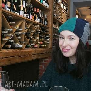 czapka damska ciepła patchworkowa przylegająca, czapka, ludowa, folk, etno, boho,