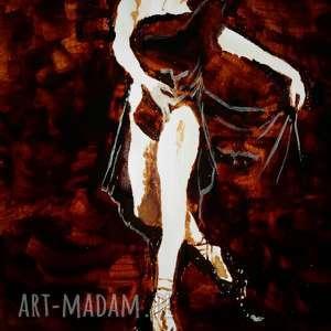 Potworna Baletnica - obraz kawą malowany - ,balet,baletnica,potwór,kawa,lekkość,pycha,