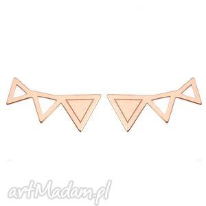 kolczyki trzy trójkąty z różowego złota - trójkąciki