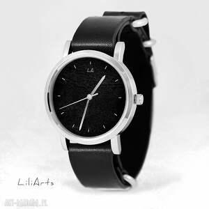 Prezent Zegarek, bransoletka - Czarny czarny, skórzany, nato, men, unisex, zegarek
