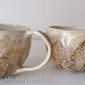 dwa kubki spacer po lesie 2, ceramika rękodzieło, kubek z gliny, ręcznie