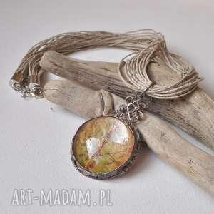 naszyjnik z oksydowanej miedzi -jesienny liść, naszyjnik, wisior, biżuteria