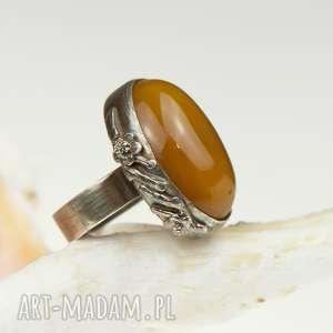 a581 pierścionek srebrny z miodowym agatem - pierścionek srebrny, pierścionek