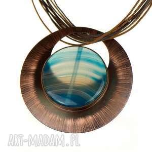 ręcznie robione naszyjniki miedziany z niebieskim agatem c579