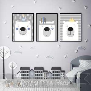 zestaw plakatów dla dzieci trzy urocze misie a3, miś, niebieski, szary, obrazek