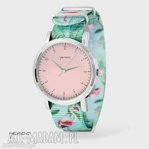 zegarki zegarek, bransoletka - simple elegance, róż flamingi, nato, zegarek