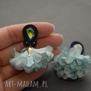 kolczyki sutasz z kwiatkiem, sznurek, wyjściowe, delikatne, eleganckie, wiszące