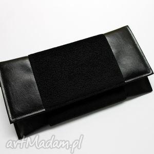 Kopertówka - czarna torebki niezwykle kopertówka, prezent