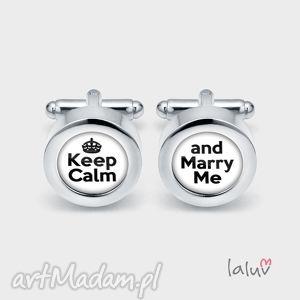 Ślubne spinki do mankietów keep calm - ślub, wesele, małżeństwo