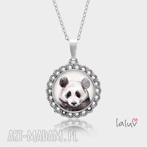 medalion okrągły mały panda, prezent, czarno, biała, puszysta, bambus, zwierzak