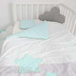 ręczne wykonanie pokoik dziecka pościel do łóżeczka słodkie sny jasna mięta
