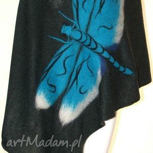 szal wełna zdobiony - filcowanie, wełna, ważki, prezent, motyle, kwiaty