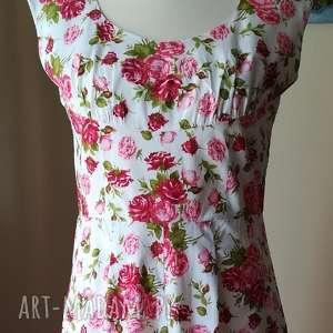 niezwykle kobieca bawełniana sukienka, rękodzieło, róże, kobieca, styl