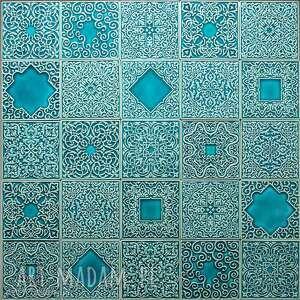 kafle arabeski zestaw ornamentów w kolorze turkus No.1, kafle, dekory, płytki