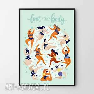 hogstudio plakat obraz love your body a4 - 21 0x29 7cm, obraz, plakaty, ciało