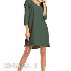 elegancka sukienka z kontrafałdą na plecach i dekoltem v, t322, khaki