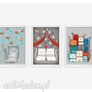 pod choinkę prezent, zestaw 3 prac a3, kot, koty, kotek, plakat, obrazek