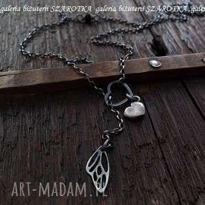 MOTYLove naszyjnik z serduszkami, skrzydło, motyl, serce, serduszka, spinel,