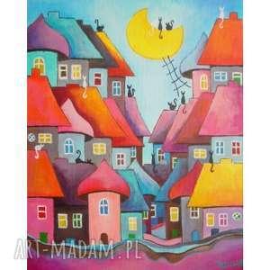 obraz na płótnie - bajkowe miasteczko kotów 41/33 cm, bajka, obraz, abstrakcja