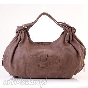 torebka damska do ręki paris 10-03 brown, pojemna, format a4, torba