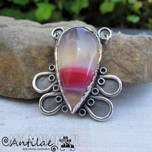 Różowy agat, pasiasty srebrny naszyjnik, srebro oksydowane, fikuśny naszyjnik