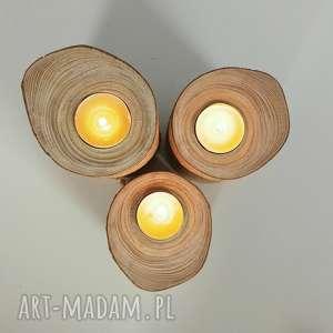 zestaw świeczniki drewno - ,świecznik,świeczniki,drewno,eko,skandynawskie,
