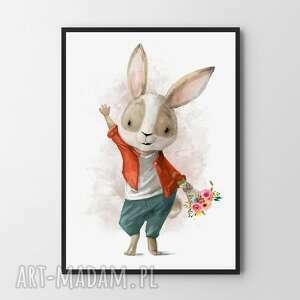 handmade pokoik dziecka plakat obraz zakochany królik a4 - 21.0x29.7cm