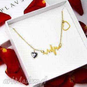 naszyjnik serce puls srebro 925 pozłacane, naszyjnik, walentynki, serce, srebro
