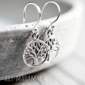 kolczyki 925 srebrne mini kolczyki drzewo życia