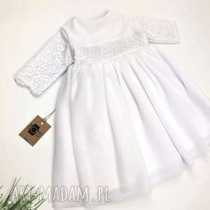 Biała sukienkę z koronka 74, koronka, tiulu