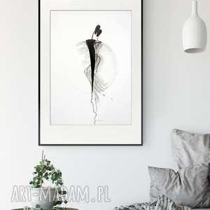grafika 50x70 cm wykonana ręcznie, abstrakcja, elegancki minimalizm, obraz