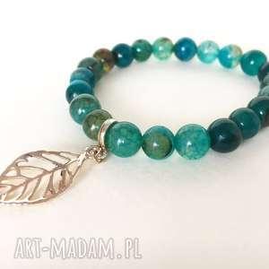 pod choinkę prezent, zielone agaty, biżuteria, bransoletka, kamienie