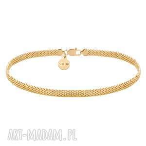 złoty gruby choker tuba - pozłacany, złocony, naszyjnik